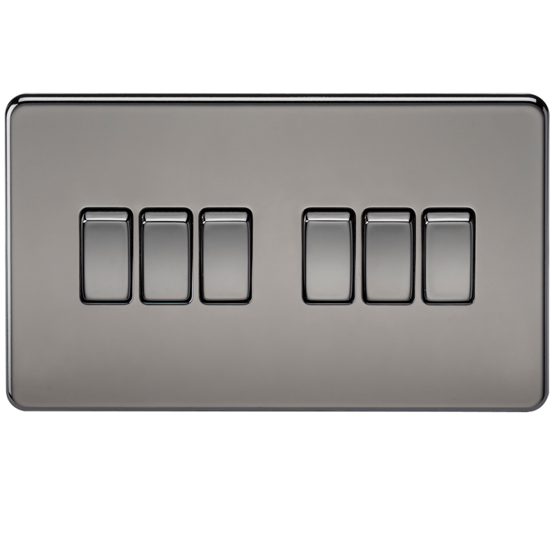 10A 6G 2 Way 230V Screwless Black Nickel Electric Wall Plate Switch