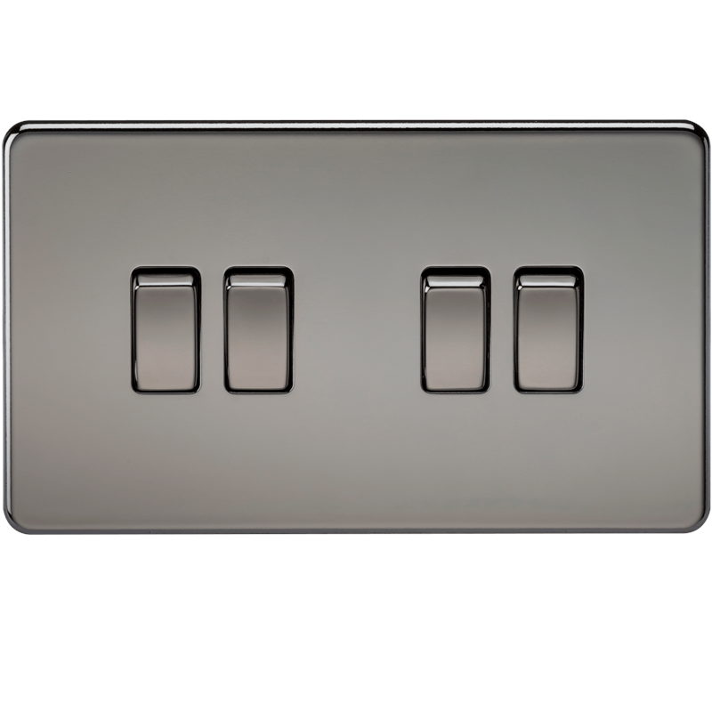 10A 4G 2 Way 230V Screwless Black Nickel Electric Wall Plate Switch
