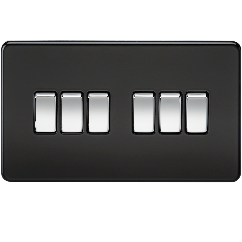 10A 6G 2 Way 230V Screwless Matt Black Electric Wall Plate Switch