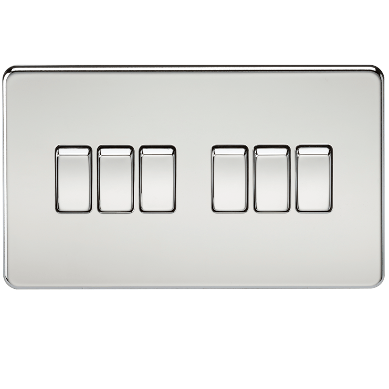 10A 6G 2 Way 230V Screwless Polished Chrome Electric Wall Plate Switch