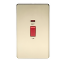 45A 2G DP 230V Screwless Polished Brass Electric Switch With Neon