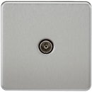 Coaxial TV Outlet 1G Screwless Brushed Chrome Un-Isolated Wall Plate