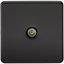 Coaxial TV Outlet 1G Screwless Matt Black Un-Isolated Wall Plate