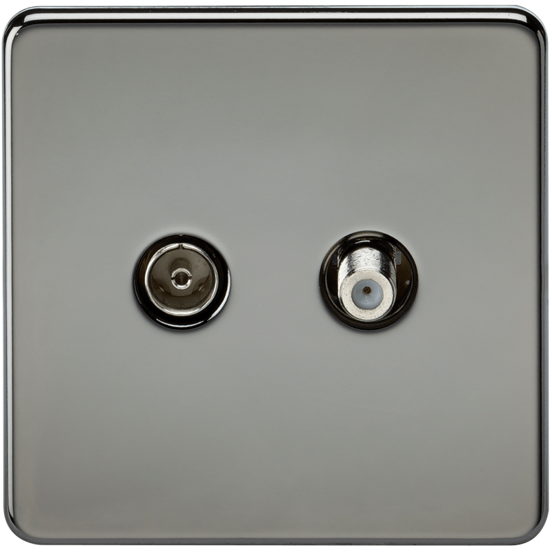 Coaxial TV and SAT TV Outlet 1G Screwless Black Nickel Isolated Wall Plate