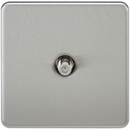 SAT TV Outlet 1G Screwless Brushed Chrome Non-Isolated Wall Plate