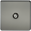 SAT TV Outlet 1G Screwless Black Nickel Non-Isolated Wall Plate