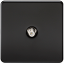 SAT TV Outlet 1G Screwless Matt Black Non-Isolated Wall Plate