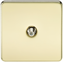 SAT TV Outlet 1G Screwless Polished Brass Non-Isolated Wall Plate
