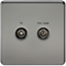 Screened Diplex TV and FM DAB Outlet 1G Screwless Black Nickel Wall Plate