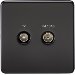 Screened Diplex TV and FM DAB Outlet 1G Screwless Matt Black Wall Plate