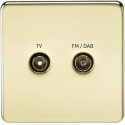 Screened Diplex TV and FM DAB Outlet 1G Screwless Polished Brass Wall Plate