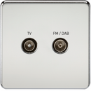 Screened Diplex TV and FM DAB Outlet 1G Screwless Polished Chrome Wall Plate
