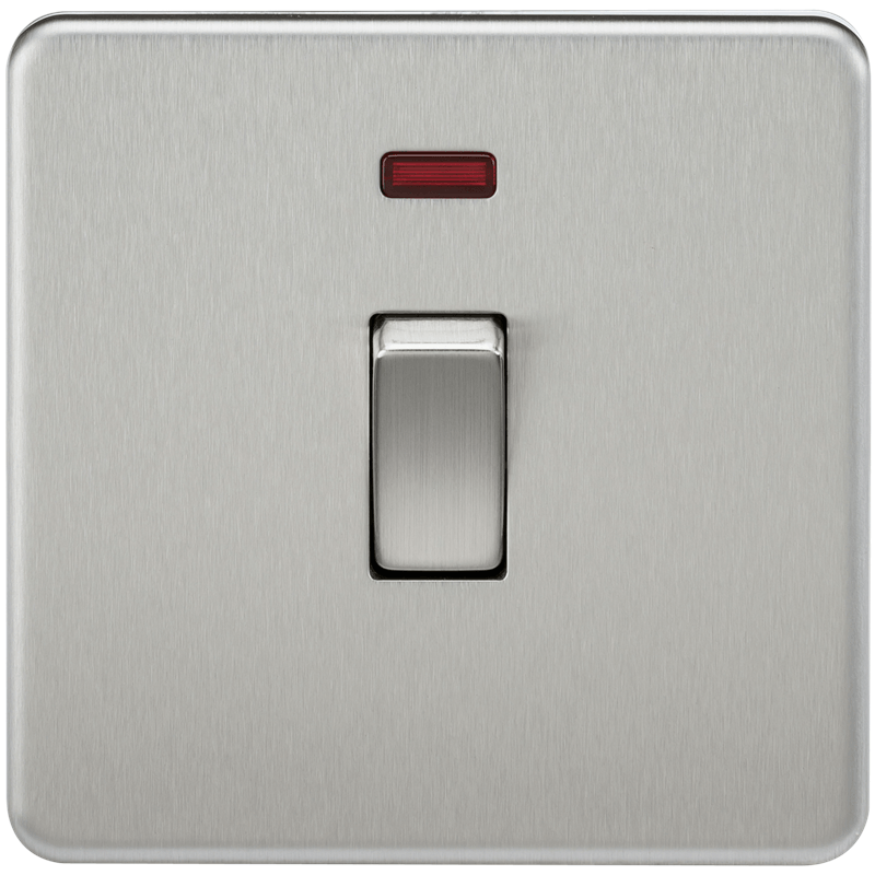 20A 1G DP 230V Screwless Brushed Chrome Electric Wall Plate Switch with Neon