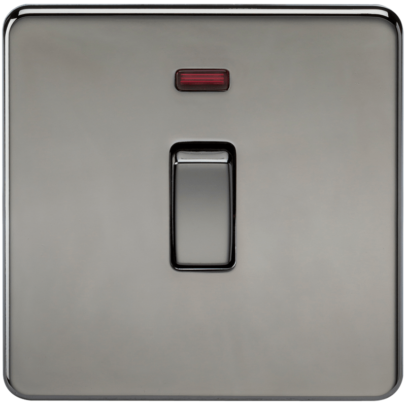 20A 1G DP 230V Screwless Black Nickel Electric Wall Plate Switch with Neon