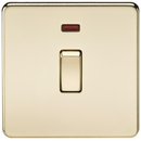 20A 1G DP 230V Screwless Polished Brass Electric Wall Plate Switch with Neon
