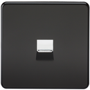 Screwless Matt Black Telephone Extension Socket Flush Wall Socket