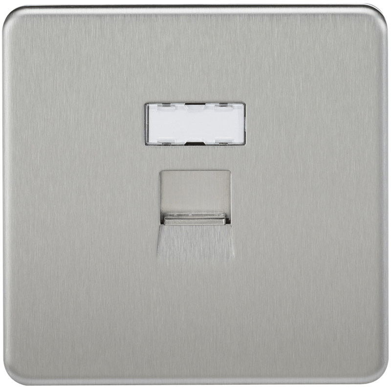 Screwless Brushed Chrome RJ45 Network Outlet Wall Socket