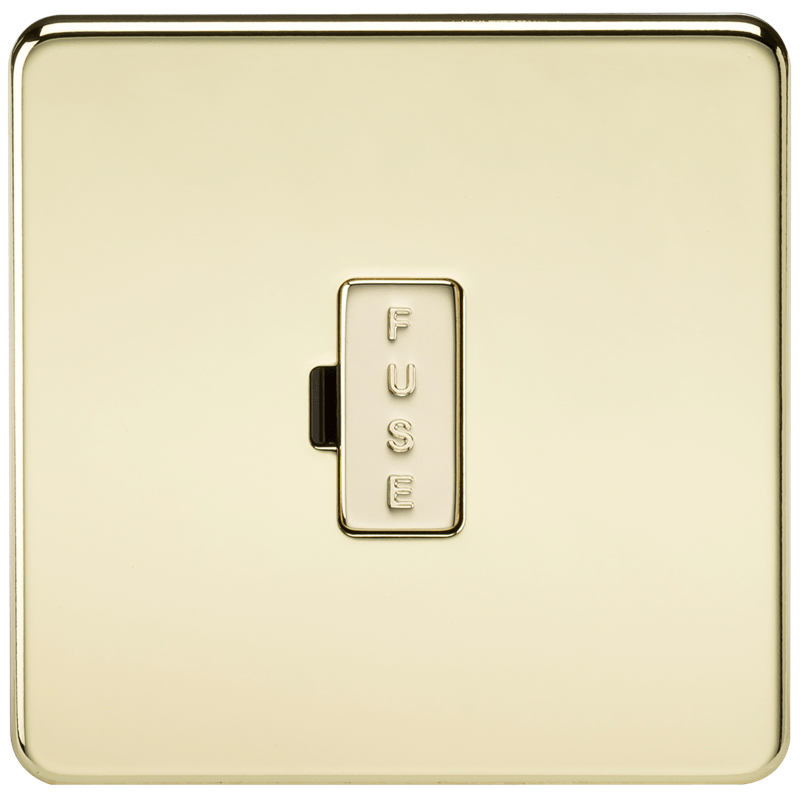 13A Screwless Polished Brass Fused Spur Connector Unit Wall Plate