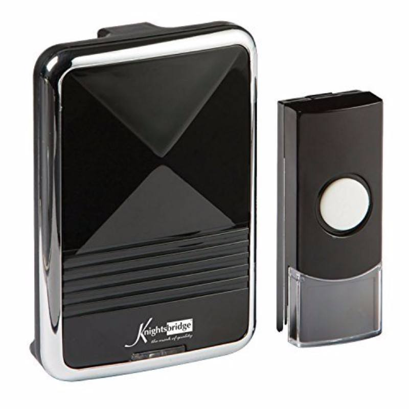 200m Range Wireless Door Bell Chime & Push - Black & Chrome