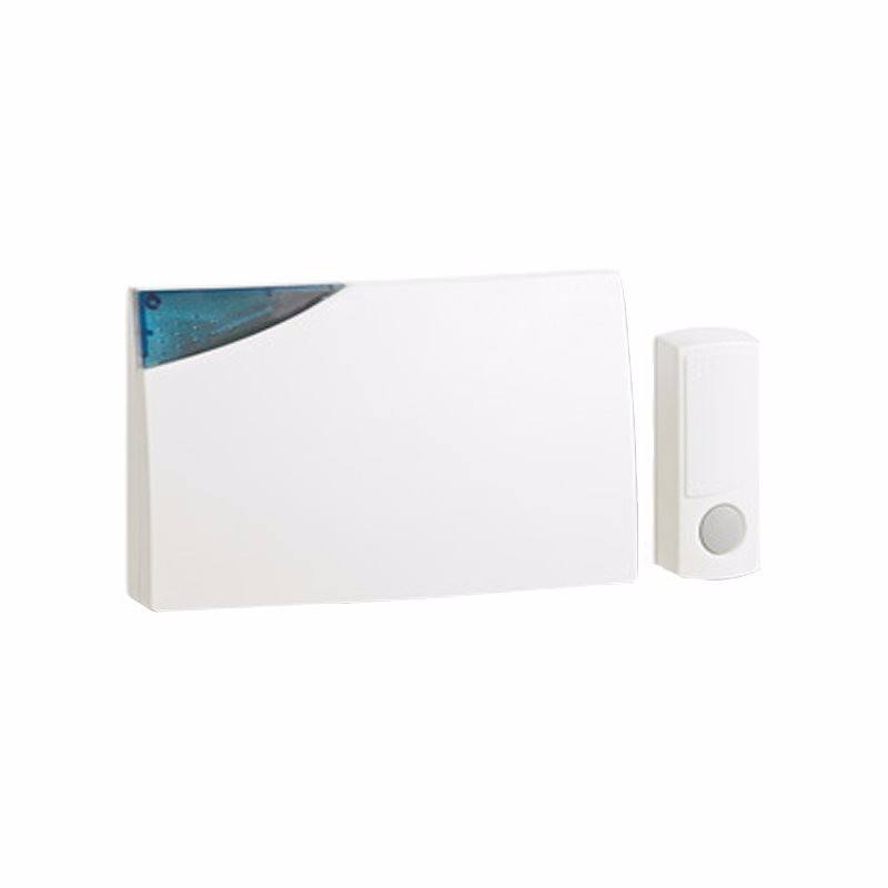 Beacon 150m Range Extra Loud Wireless Door Bell Chime & Push Kit - White