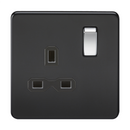 1G DP 13A 230V Screwless Matt Black UK 3 Pin Switched Electrical Wall Socket