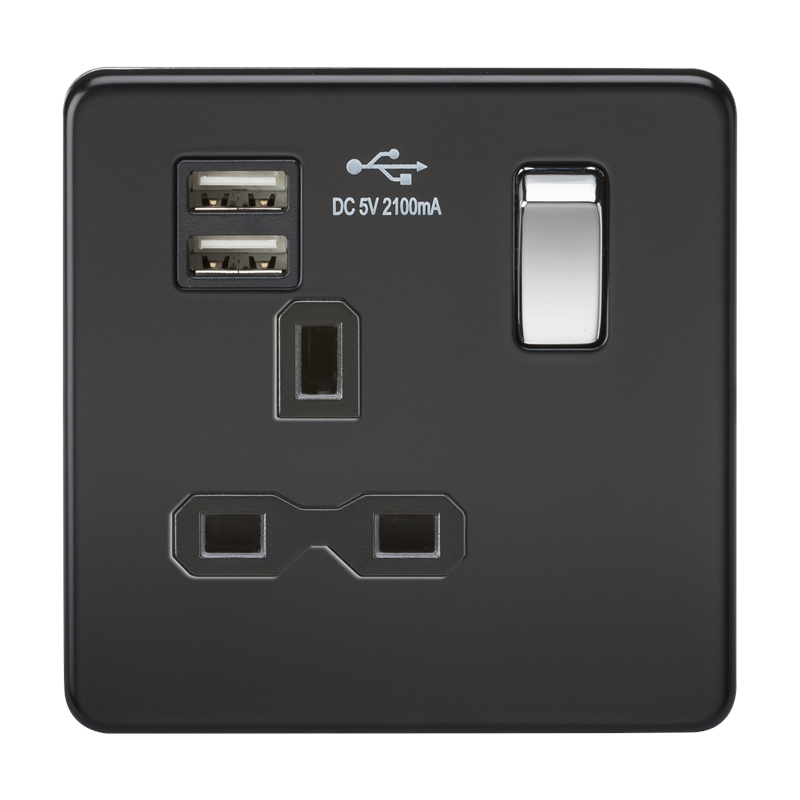 13A 1G Screwless Matt Black 1G Switched Socket with Dual 5V USB Charger Ports