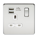 13A 1G Screwless Polished Chrome 1G Switched Socket with Dual 5V USB Charger Ports - White Insert