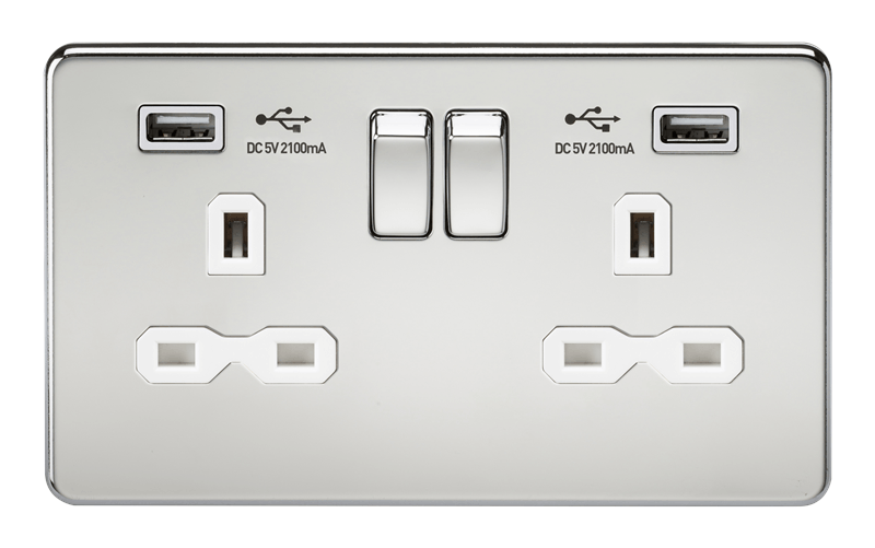 13A 2G Screwless Polished Chrome 2G Switched Socket with Dual 5V USB Charger Ports - White Insert