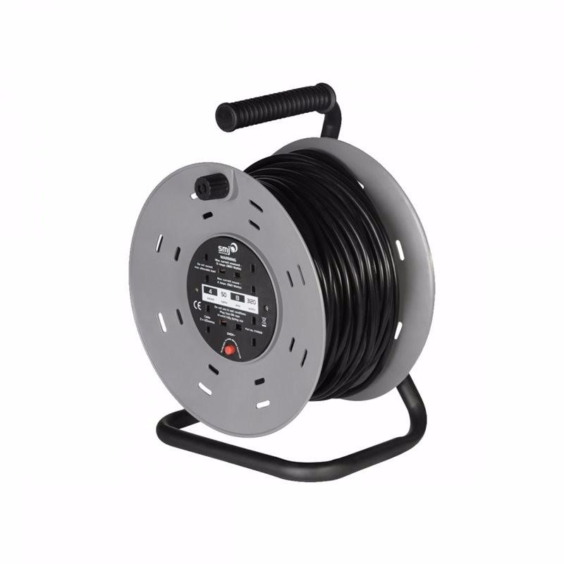 4 Gang 50m Heavy Duty Cable Reel with Thermal Cut Out