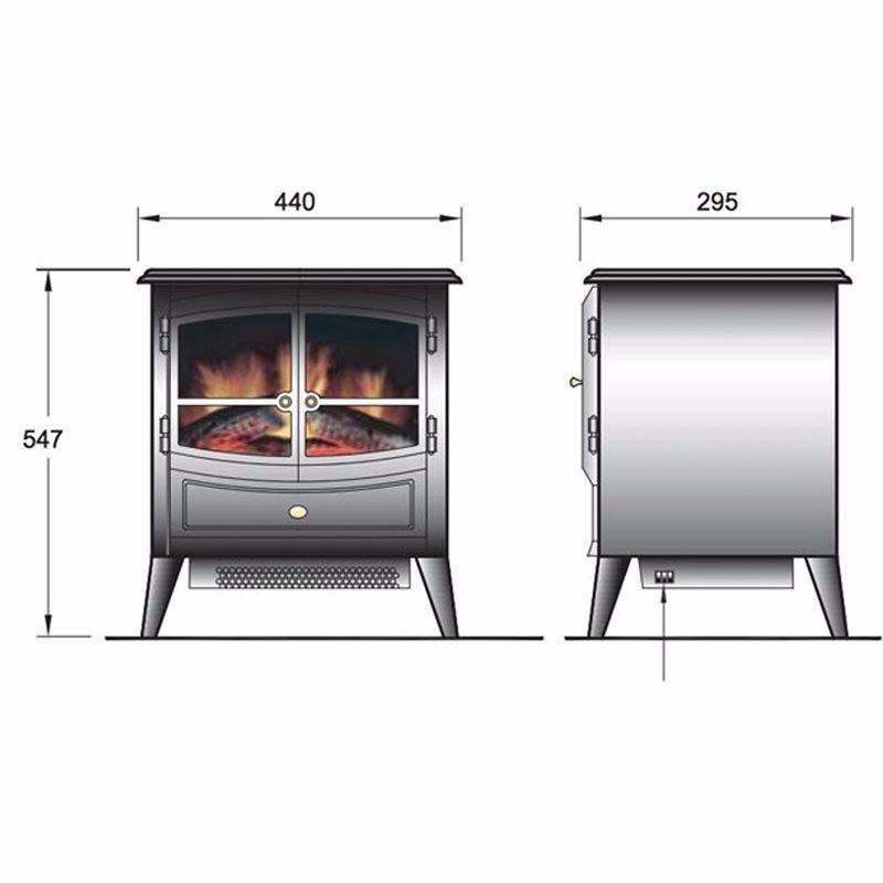 Springborne 2kW Optiflame Electric Stove - Black (2019 Model)