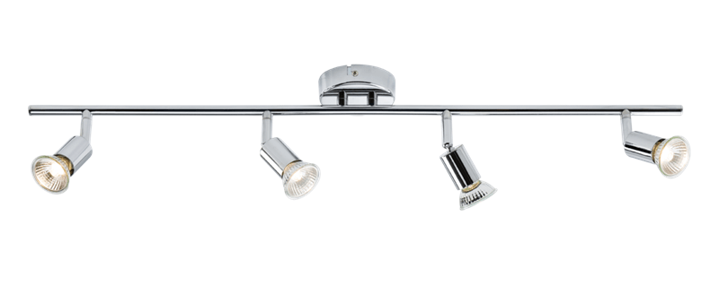 Ceiling Light GU10 50 Watt 4 Spotlight Bar Chrome LED Compatible