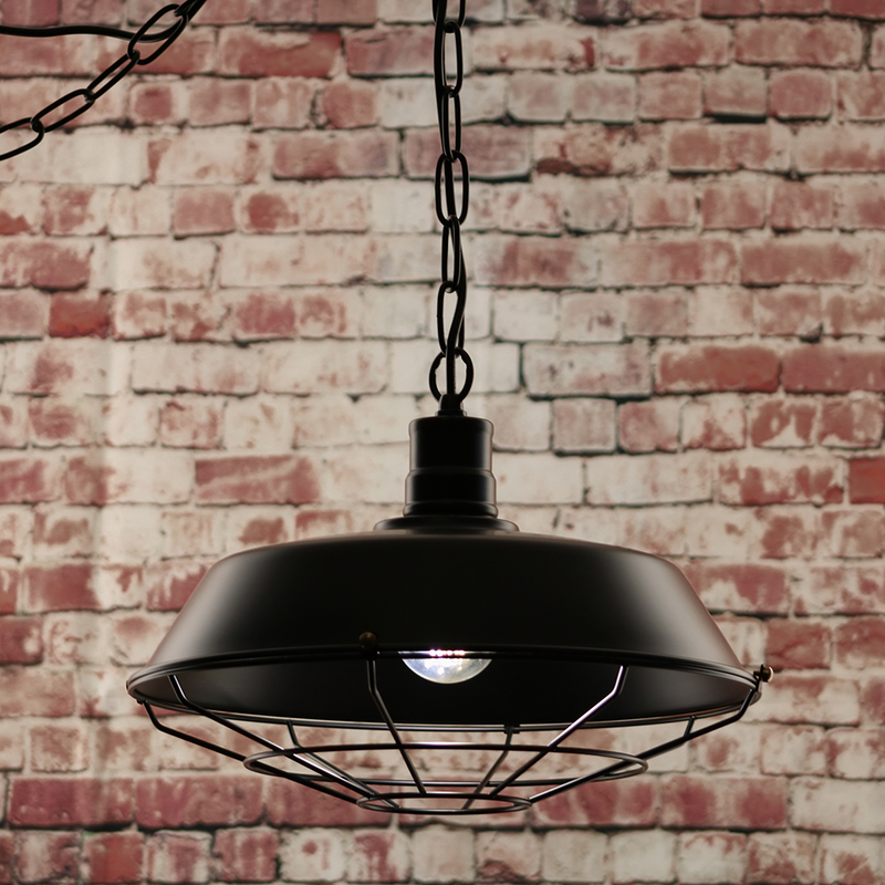 Halton Wire Guarded Hanging Traditional Industrial Ceiling Light