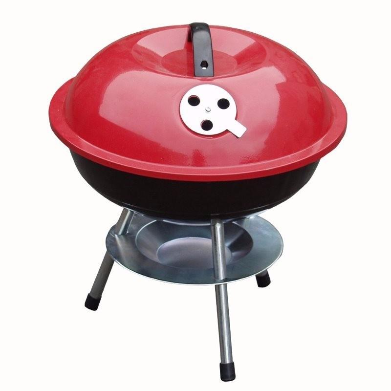 Mini Portable Barbecue With Enameled Red Finish