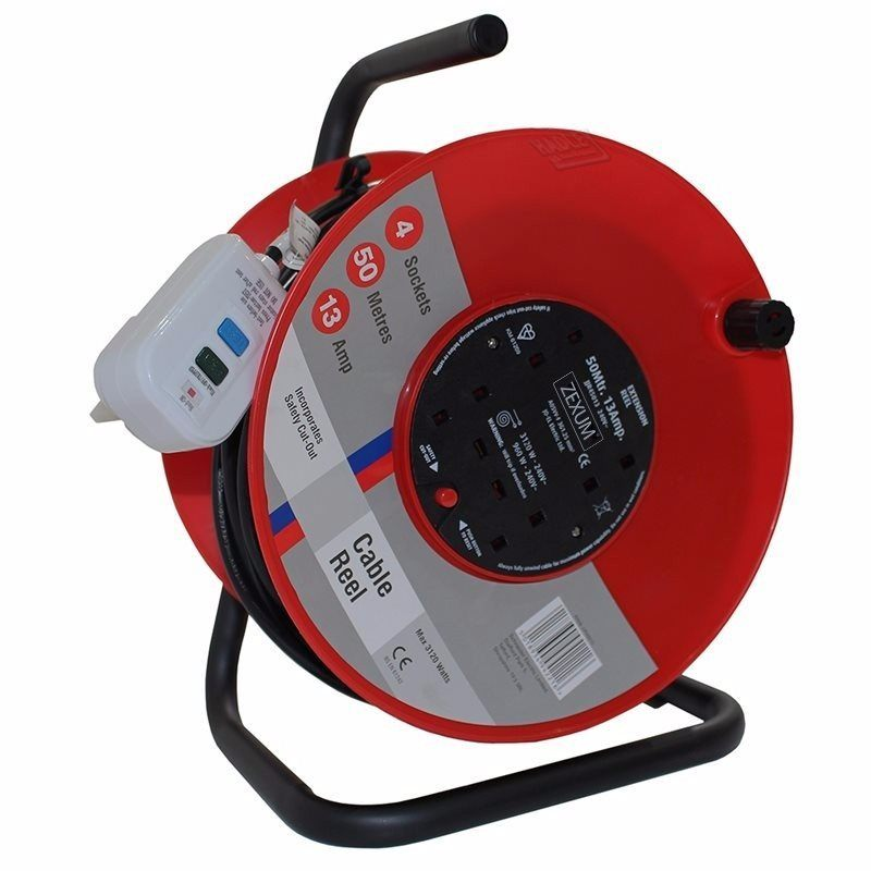 50m 4G Socket Extension Reel on Metal Frame With RCD Plug
