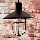 Calgary Wire Guarded Traditional Rustic Iron Ceiling Light