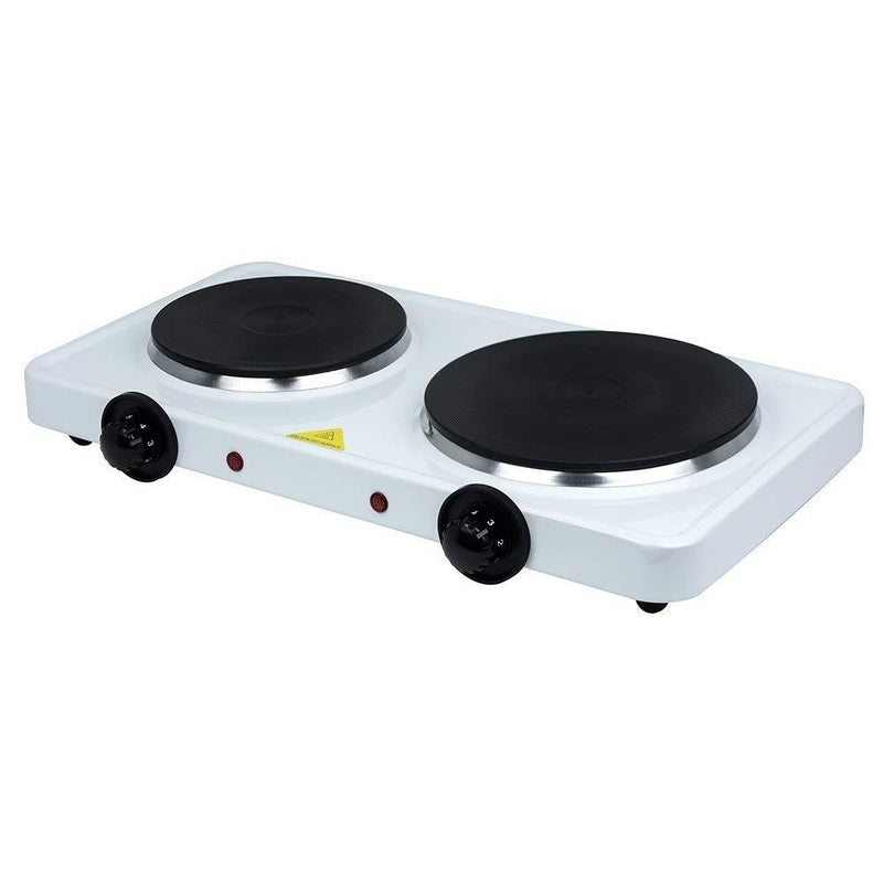Double Stainless Steel Hot Plate - White