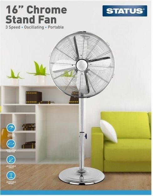 "16"" Chrome Pedestal Stand Fan"