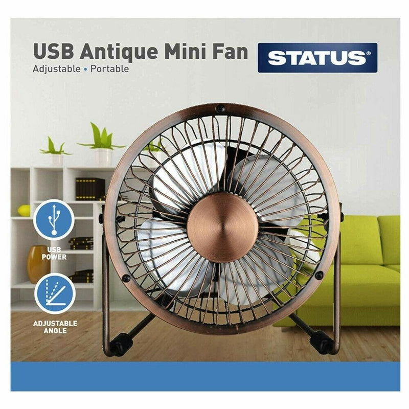 4 Inch Mini USB Metal Desk Fan (brass)