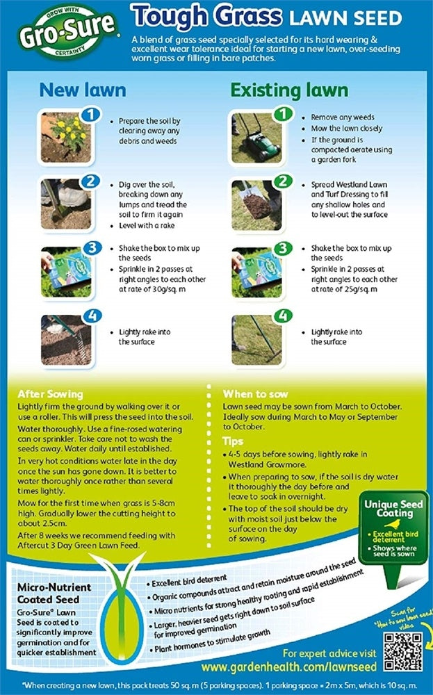 Tough Grass Lawn Seed - 15m2, 450g