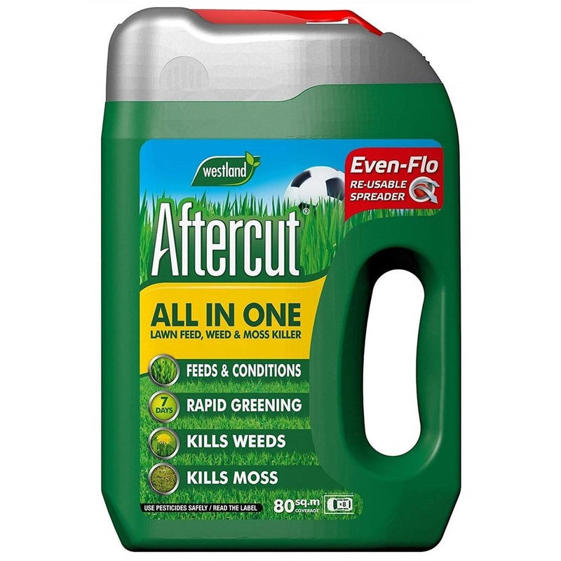Aftercut All In One Lawn Feed, Weed and Moss Killer Even-Flo Spreader, 80m?, 2.8 kg