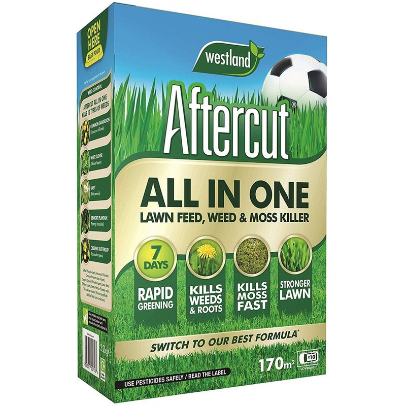 Aftercut All-in-One Lawn Feed, Weed and Moss Killer, 170 sq m, 5.44 kg