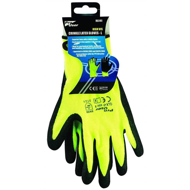 Hi-Vis Latex Gloves - Large, Yellow