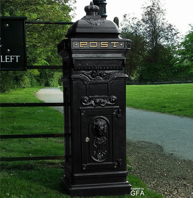 Cast Aluminium Black Traditional Victorian Floor Style Post Box