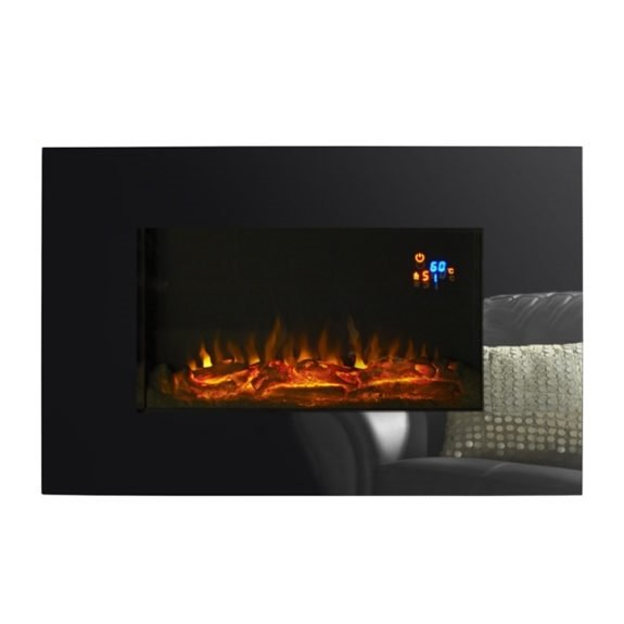 Charmouth Glass Effect Electric Fire - Black