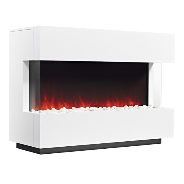 Panoramic White Electric Fire Suite