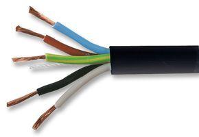 1.5mm 5 Core Black Cable Flexible 3185Y - 1m