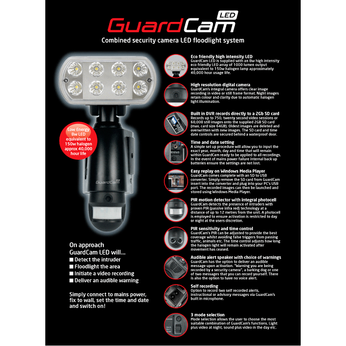 Guardcam LED Security Floodlight with CCTV Camera