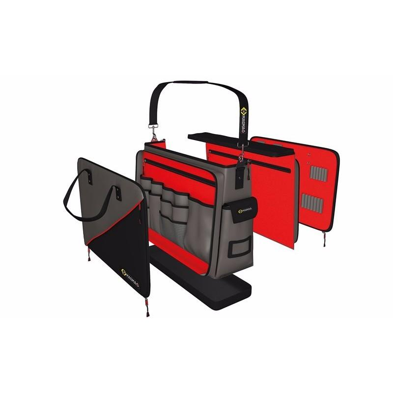 Black & Red Soft Technicians Electricians Tool Case Plus Storage Bag with Hard Waterproof Base