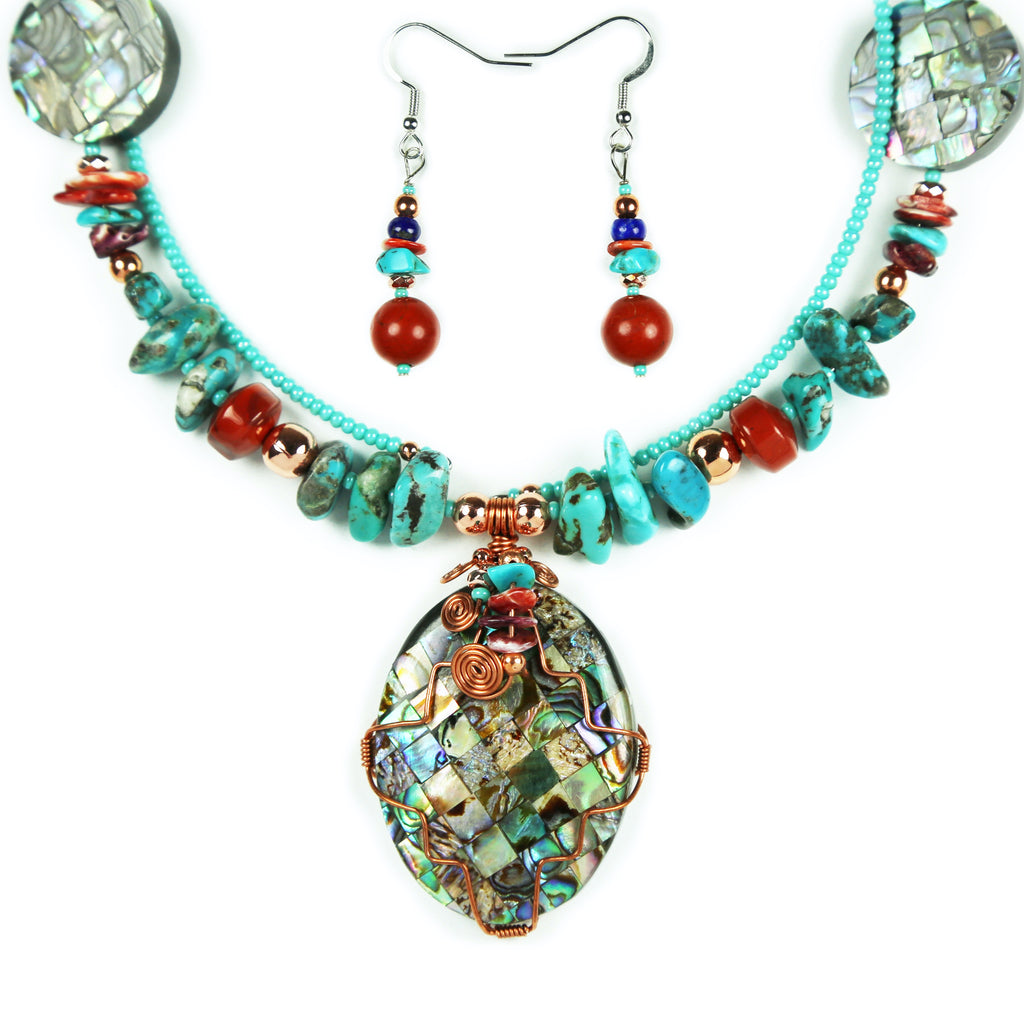 Abalone & Turquoise Copper Wrapped Necklace Set