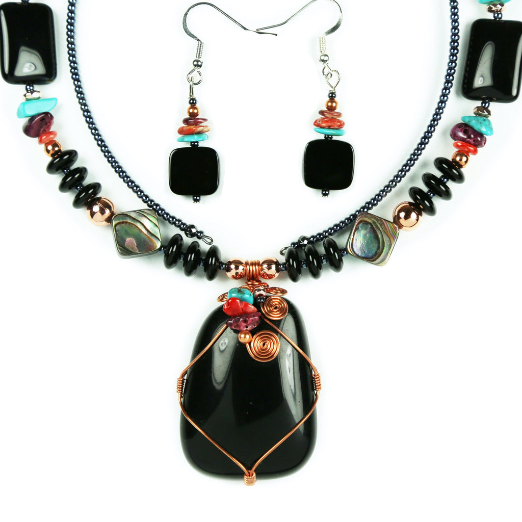 Black Onyx Copper Wrapped Necklace Set